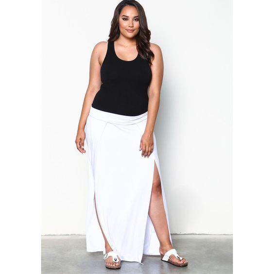 Plus Size White High Slit Jersey Maxi Skirt ($20) ❤ liked on ...