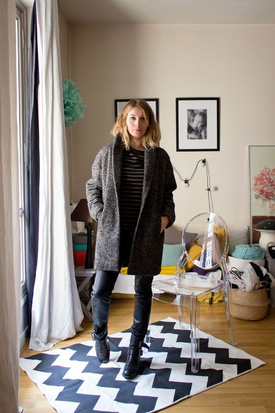 Manteau Monoprix, Pantalon en cuir Jitrois, Boots Free Lance