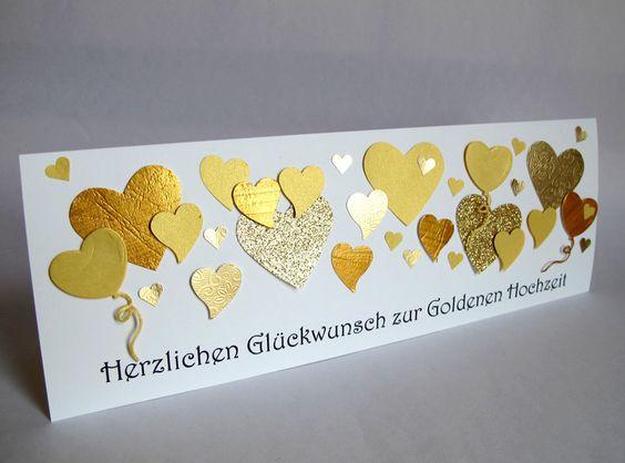 Hochzeitskarten - Besondere Karte zur Goldhochzeit, gold, Herzen - ein Designerstück von berlin-art-and-design bei DaWanda