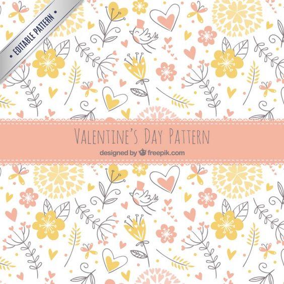 Sketches padrão floral valentine Vetor grátis