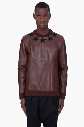 Speechless... GIVENCHY Brown Leather Crewneck Sweater