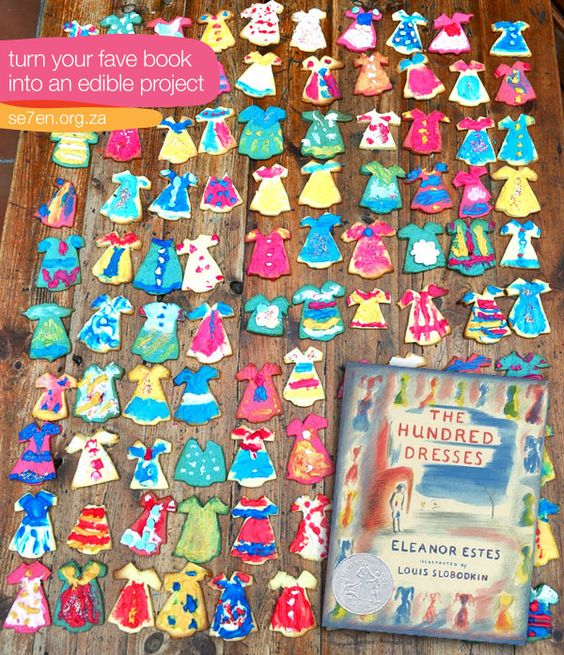 Turn a book into an edible project. These cookies based on THE HUNDRED DRESSES are gorgeous and inspiring! What other books would be fun to recreate in cookie form? Imagine ANIMAL FARM out of animal crackers or Edith Hamilton's MYTHOLOGY or Alice in Wonderland characters.