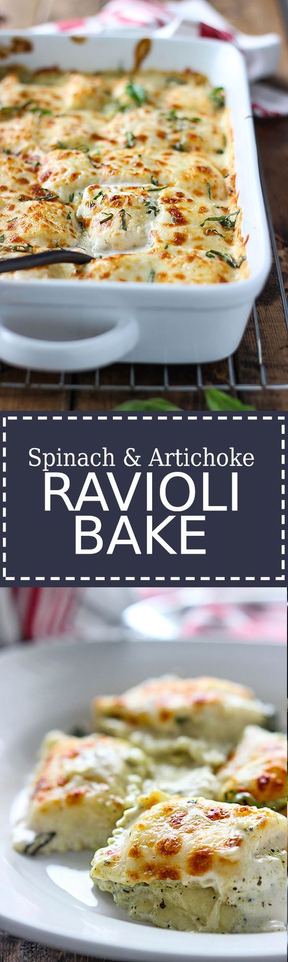 An easy, cheesy rich and creamy spinach and artichoke ravioli bake ...