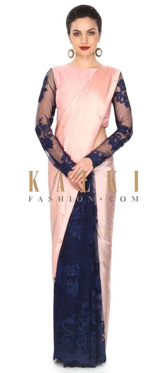 Buy this Half and half saree in pink and navy blue with fancy stone only on Kalki