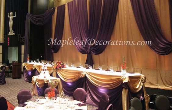 Toronto Wedding Decorations - Custom Backdrop and Head Table Draping Design by Mapleleaf Decorations in Antique Gold and Chocolate Brown Satin fabrics and linens at The Eglinton Grand. Contact us for more info www.MapleleafDecorations.com