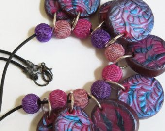Jangling blue and pink handmade necklace #polymer clay jewelry#artsy and bold jewelry www.etsy.com/shop/MaryClaires