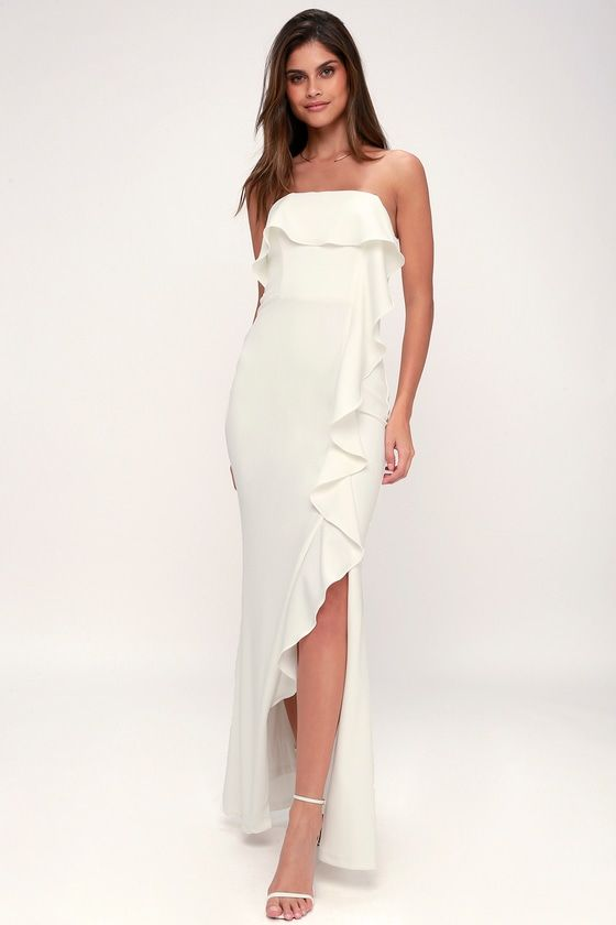 Aquarius White Strapless Ruffled Maxi Dress Maxi Dress Dresses Ruffled Maxi Dress