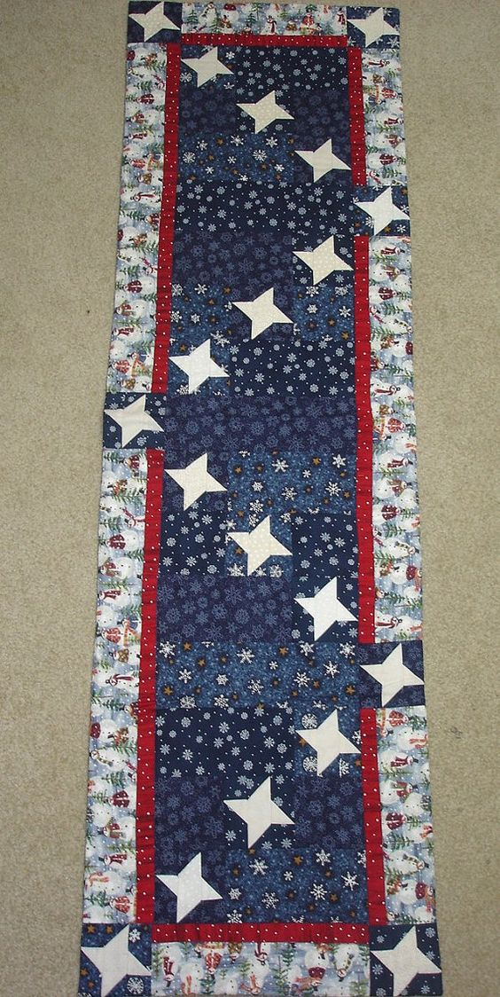Starry Snowy Night Friendship Stars Quilted Table Runner