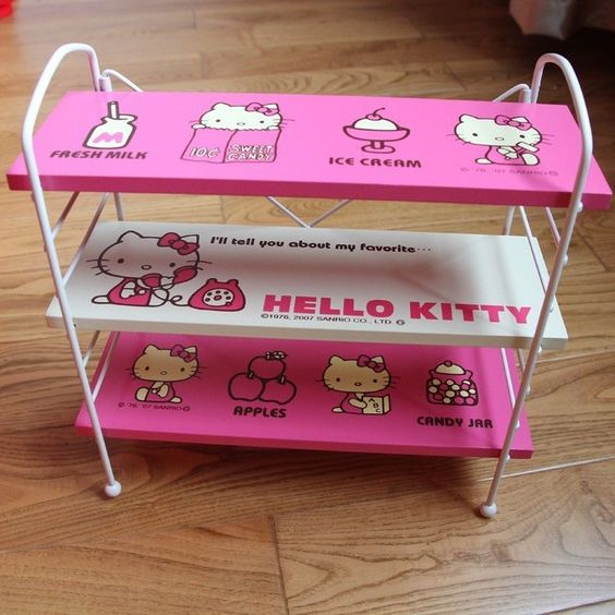 hot pink kitty wooden wire organizing rack for arranging small item table use