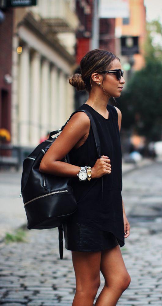 #street #style leather skirt + black tank top @wachabuy
