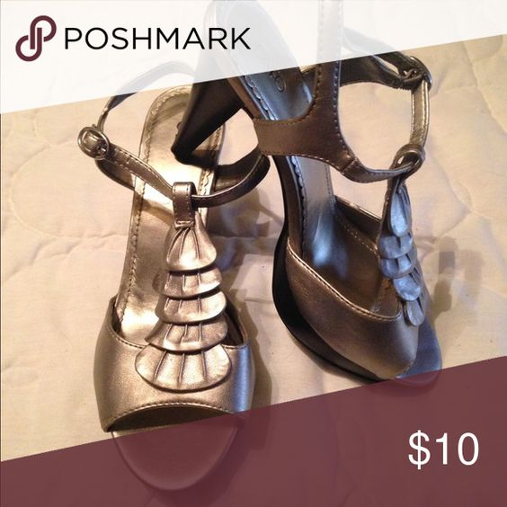 Silver heels Worn once. Cato Shoes Heels