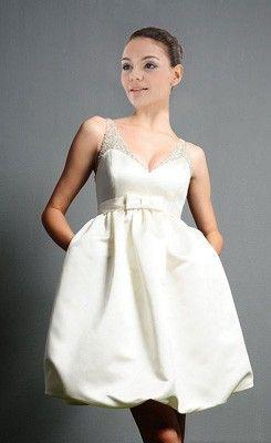 Faddish Short/Mini-length V-neck Pockets  Beaded Wedding Dress