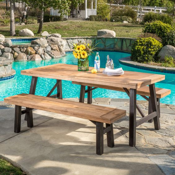 With the Christopher Knight home Boracay picnic dining set, you will always have plenty of space to sit, relax, eat, and talk to all of your guests comfortably outdoors. The bench and table design giv