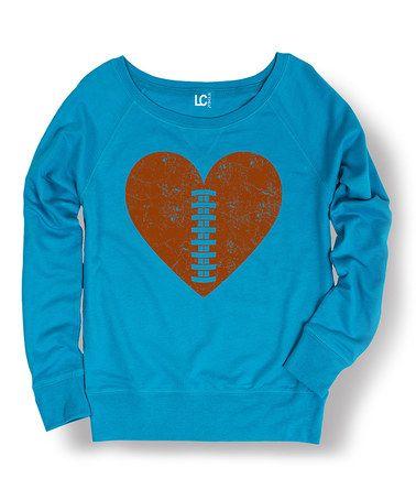 Another great find on #zulily! Cobal Football Heart Sweatshirt - Women #zulilyfinds