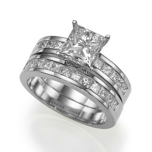 3 5 Ct Vvs Princess Diamond Engagement 14kt White Gold Wedding Ring Set In 2020 White Gold Promise Ring White Gold Wedding Ring Set Princess Diamond Engagement Rings