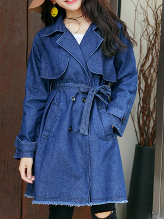 Notch Lapel Double Breasted Belt Plain Trench
