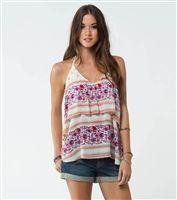 O'Neill Dale Top. Woven halter top with loose tier at bodice and metal