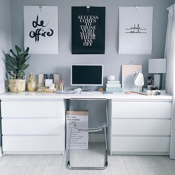 """It's the quotes   inspo prints that we love most about blogger Olivia's workspace (oh, and that ikea desk hack!). Our favourite is the black print: """"Success comes to those that work their ass off""""...ain't that the truth! // @workspacegoals"""