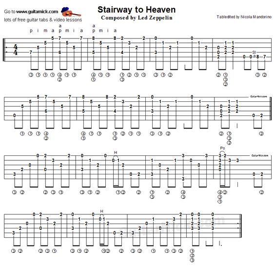 Stairway To Heaven, Led Zeppelin -  fingerstyle guitar tab http://tabs.ultimate-guitar.com/l/led_zeppelin/stairway_to_heaven_tab.htm