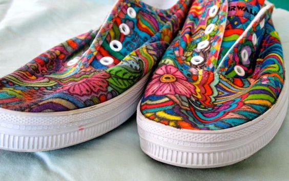 Wicked Awesome Handmade Sneakers/ Slip-Ons. via Etsy.