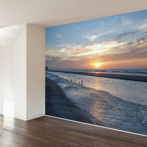 Beach mural dr who and beaches on pinterest for Beach sunset wall mural