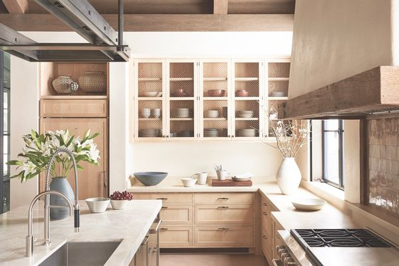 Soft wood tones warm whites kitchen cabinets color scheme