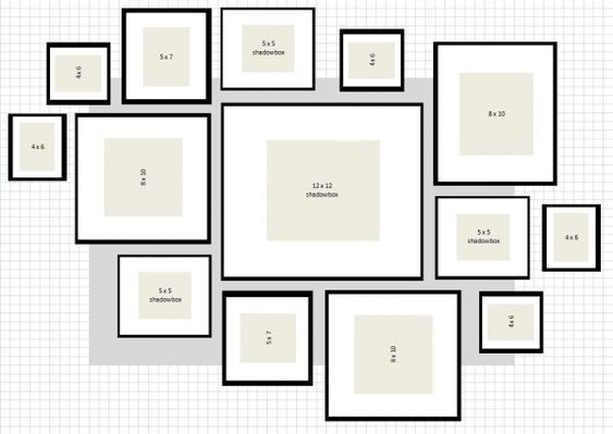picture layout for gallery wall using IKEA Ribba Frames (Heart Tree Home)