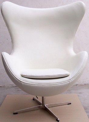 Arne Jacobsen Style Egg Chair In White Italian Leather