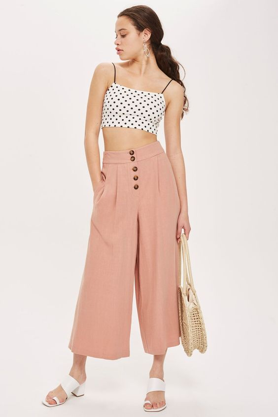 Horn Button Crop Wide Leg Trousers - Vacation Shop - Clothing - Topshop USA