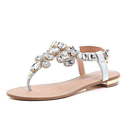 Silberfarbene, strassverzierte Sandalen - Flache Sandalen - Schuhe/Stiefel - Damen