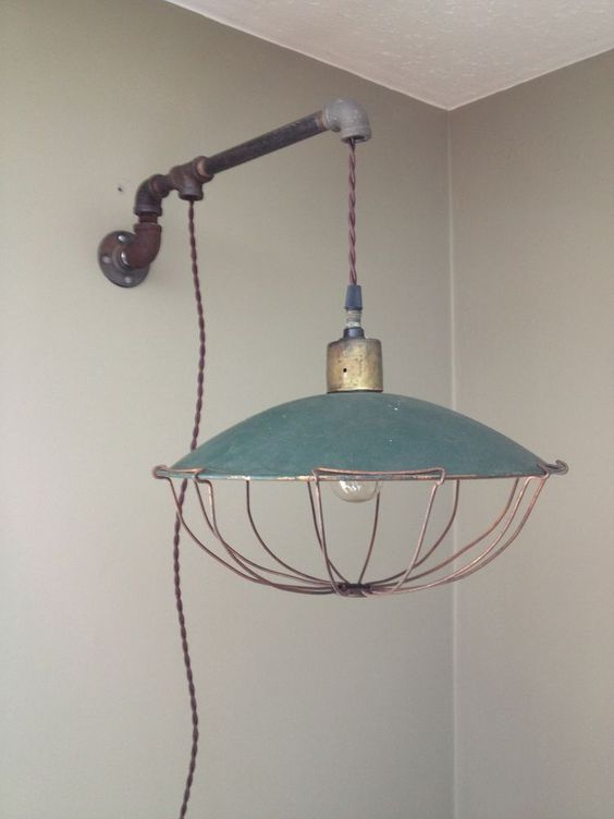 Wall Mount Corded Lamp : Vintage industrial, Wall mount and Pipes on Pinterest