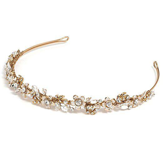 USABride Gold-Tone Floral Design Bridal Headband with Rhinestones & Crystals 3137-G