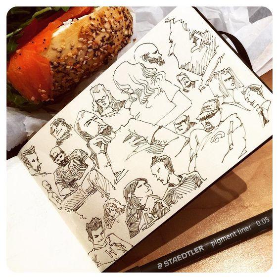 """""""""""Bagels & Lox"""" DAY 4 #inktober #inktober2015 #ink #STAEDTLER #bagels #people #drawing #AutoKite"""""""
