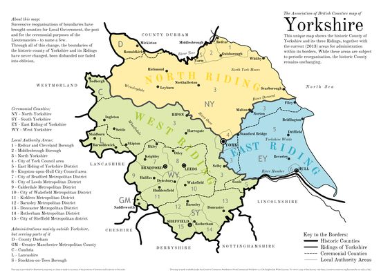 The historic county of yorkshire the three ridings along with the historic county of yorkshire the three ridings along with administrative areaschanges since 1974 world maps pinterest yorkshire gumiabroncs Choice Image