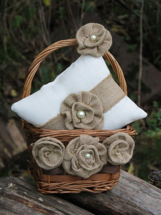 Rustic Burlap Flower Girl Baskets : Rustic burlap ring bearer pillow flower girl basket