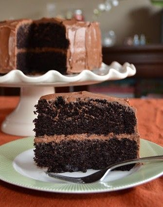 "Super Moist Chocolate Cake From Barefoot Contessa's at Home by Ina Garten. ""Sooo seriously moist and dark and ultra chocolaty - everything you'd want if you're a fan of chocolate cake."""