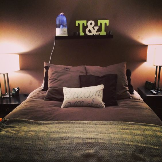 Shelf above bed! Great for room without a headboard!