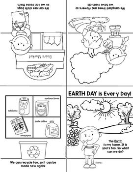 earth day reader freebie for kindergarten and first grade print fold and read. Black Bedroom Furniture Sets. Home Design Ideas
