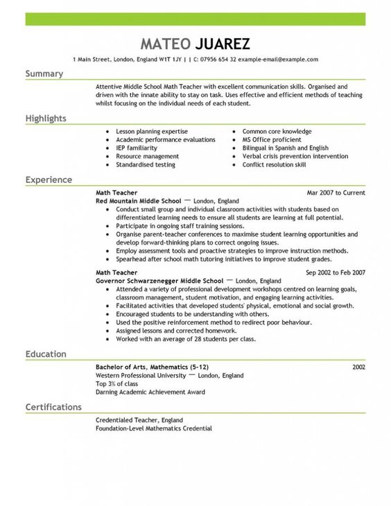 Contemporary Design Resume Education Example | Resume Example