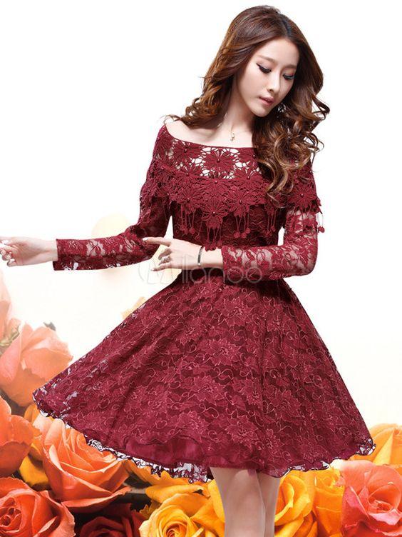 Sexy Burgundy Lace Flower Bateau Neck Long Sleeves Vintage Dress ...