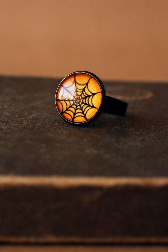 Halloween orange and black spider web ring