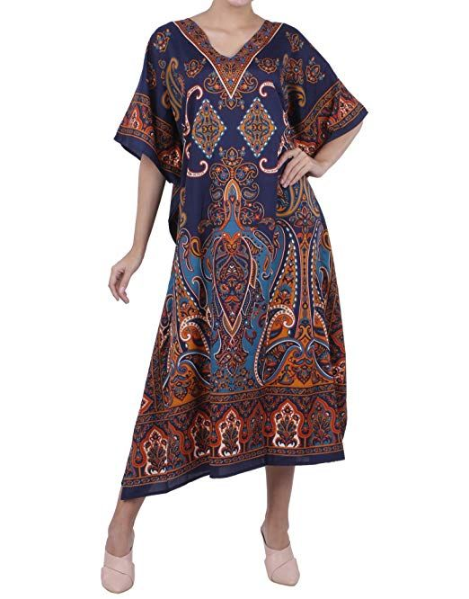Kaftan Tunic Holiday Dress Beach Cover up Long Maxi Dress Boho