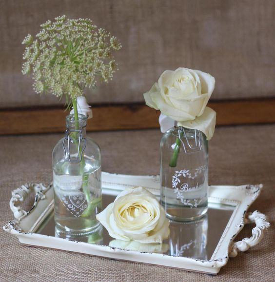 Mirror tray table centre cream floating candles wedding