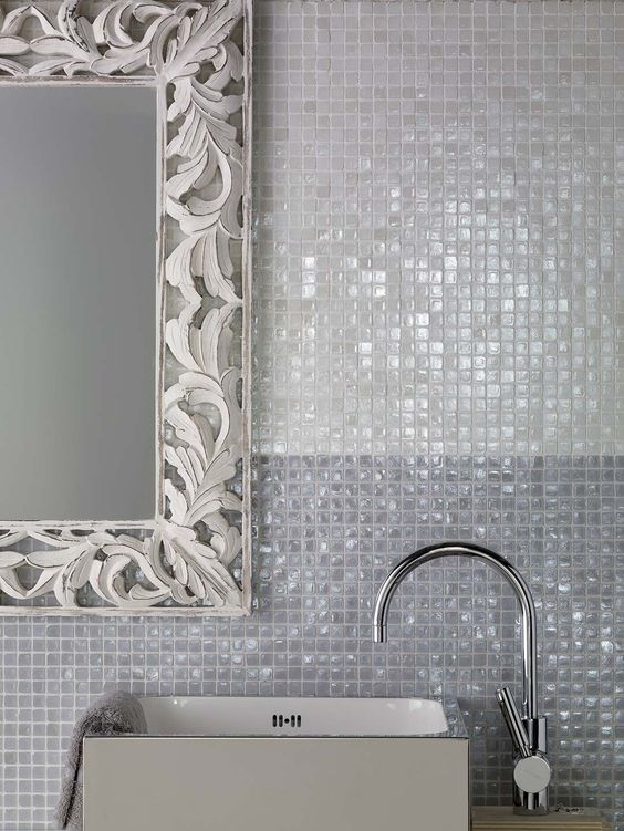 Vetro Collection - recycled Italian glass, available in a range of colours and finishes - White Vetro tile for family bathroom (shower only due to cost!)