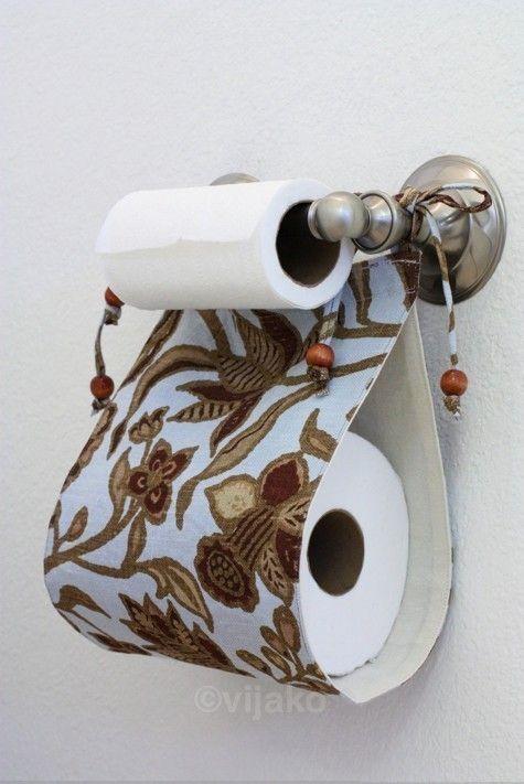 What a pretty way to store an extra roll!: Paper Holders, Extra Roll, Guest Bathroom, Half Bath, Cute Ideas, Tp Holder, Bathroom Idea