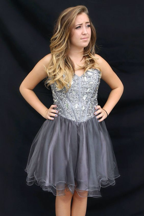 Super trendy new short grey big bling homecoming dress! Available ...
