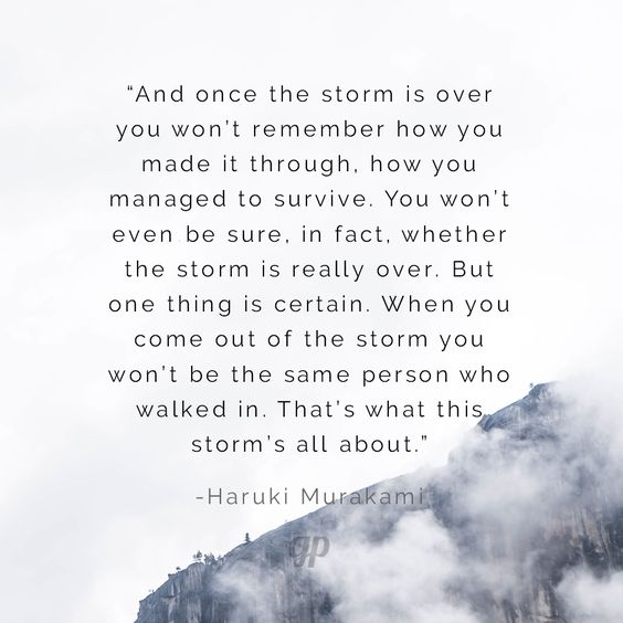 """""""And once the storm is over you won't remember how you made it through, how you managed to survive. You won't even be sure, in fact, whether the storm is really over. But one thing is certain. When you come out of the storm you won't be the same person who walked in. That's what this storm's all about."""" -Haruki Murakami"""