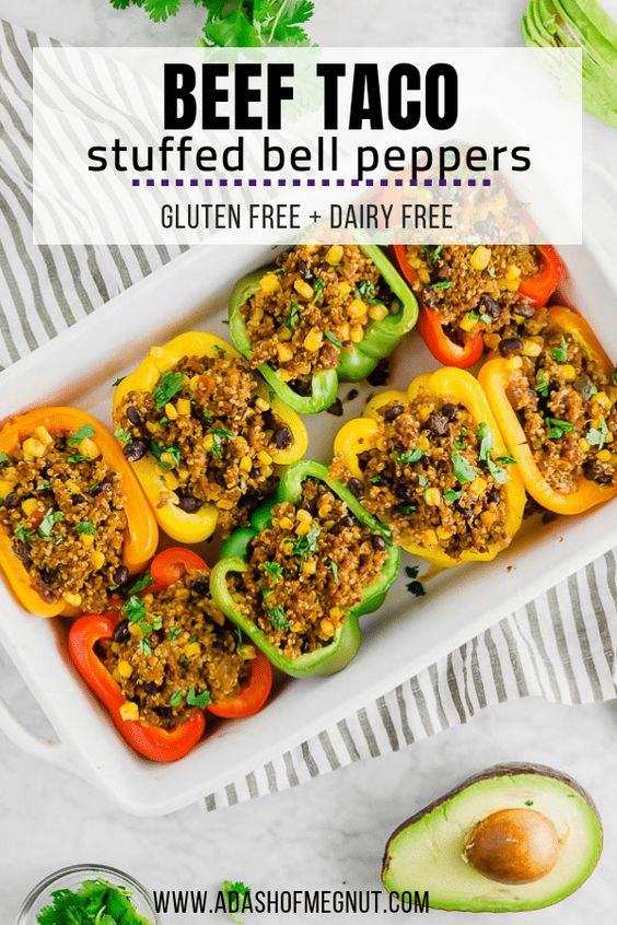 Beef and Quinoa Stuffed Bell Peppers