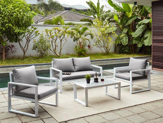 Garten Sitzgruppe Aluminium Kiribati 2 Sitzer Sofa 2 Sessel Couchtisch Sitzgruppe Couchtisch 2 Sitzer Sofa