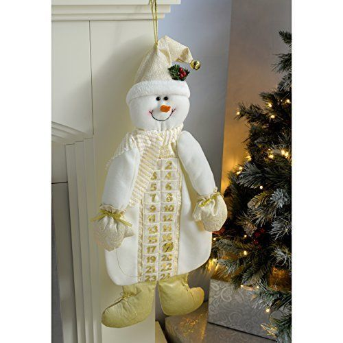 WeRChristmas 66 cm Large Snowman Advent Calendar Christmas Decoration, Cream  Go #WeRChristmas